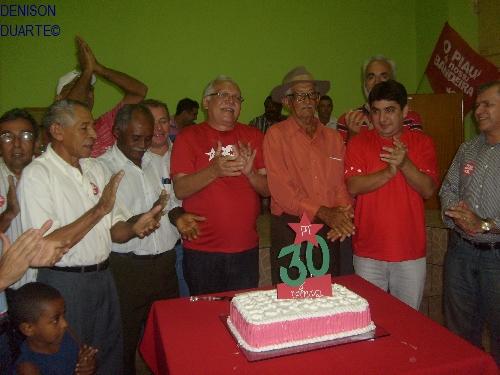 PT comemora seus 30 anos de existência e a posse do presidente do diretório municipal
