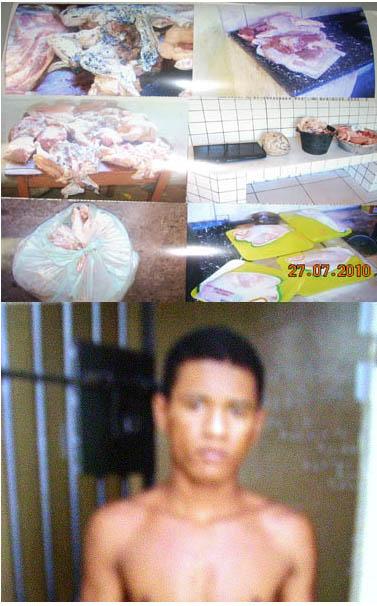 Vizinho é preso em flagrante roubando 40 kg de carne em restaurante no interior do estado.