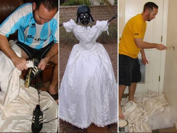 Para se vingar da ex, americano mostra 101 usos para vestido de noiva