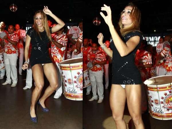 Alessandra Mattos se empolga com bateria e deixa calcinha à mostra