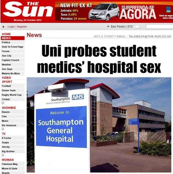 Alunos de medicina são flagrados fazendo sexo oral em hospital