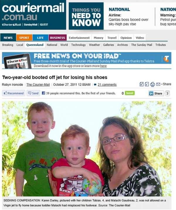 Família é barrada em voo porque filho de 2 anos estava sem sapatos