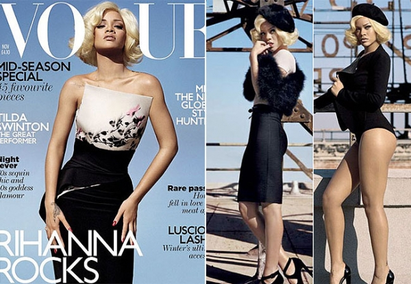 Rihanna posa com cabelo igual ao de Marilyn Monroe para revista