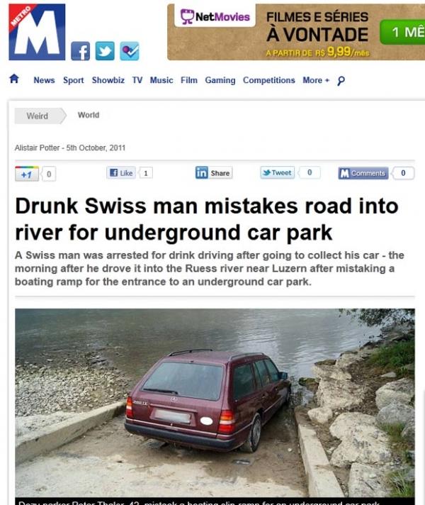 Homem bêbado confunde rampa e quase cai dentro de rio