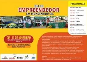 Nesta sexta-feira 11, acontece o Dia do Empreendedor em Monsenhor Gil