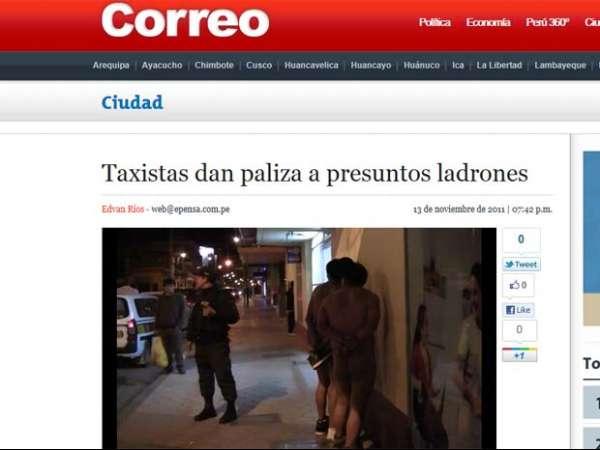 Taxistas fazem suspeitos de roubo andarem nus em rua no Peru