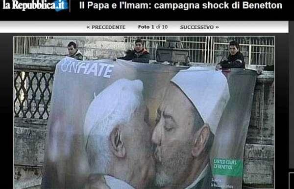 Fotomontagem em outdoor mostra beijo homossexual de Bento XVI