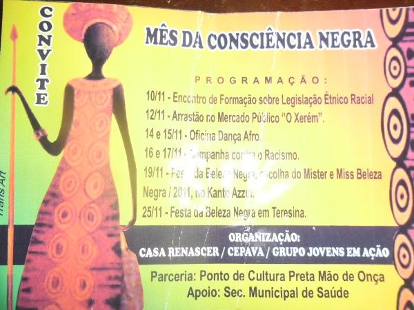 Casa Renascer, CEPAVA e Grupo Jovens em Ação realiza o Mês da Consciência Negra em Valença