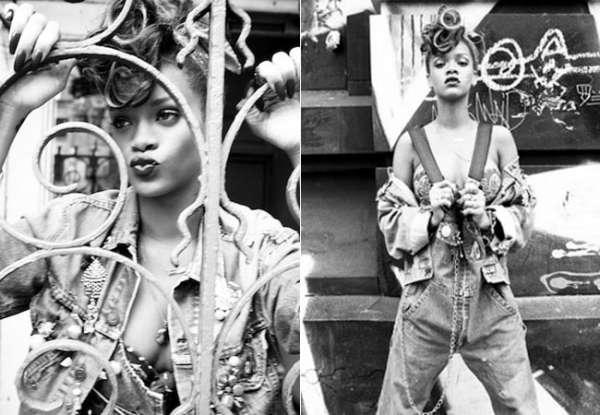 Rihanna posa sensual em fotos promocionais do novo álbum e exibe parte dos seios