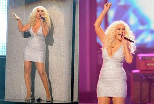 Vestido justinho evidencia curvas de Christina Aguilera em premiação