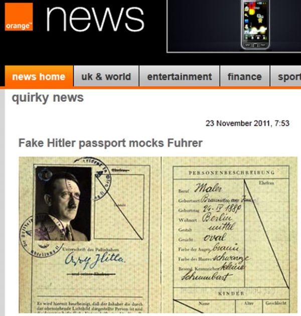 Reino Unido exibe passaporte falso em que Hitler aparece como judeu