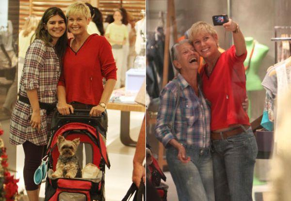 Xuxa passeia com cachorro em carrinho de bebê em shopping e atrai curiosos; veja fotos