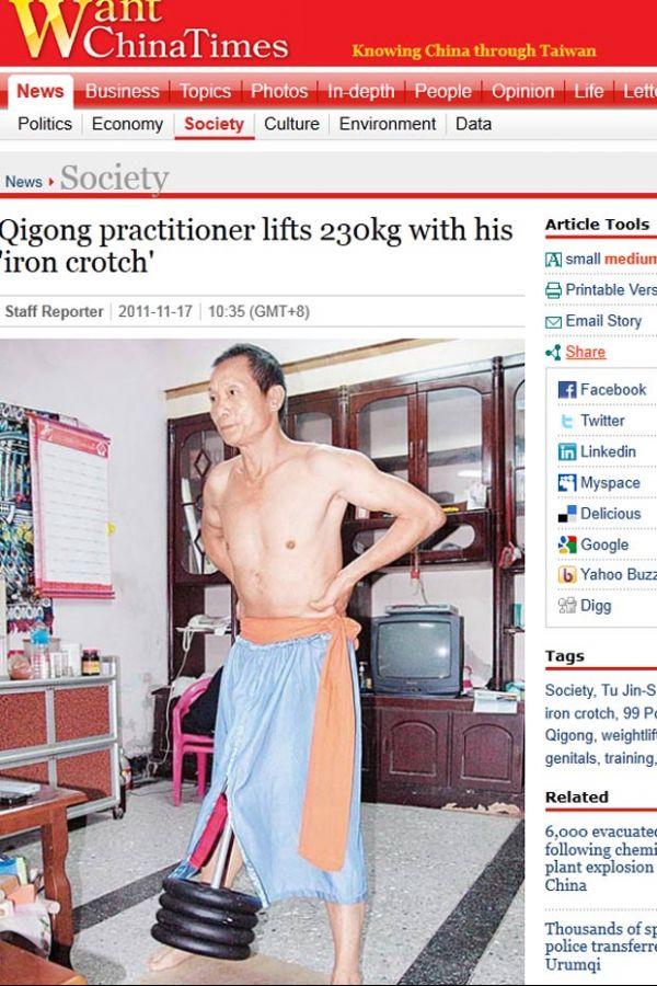 Taiwanês diz conseguir erguer 230 quilos com o pênis