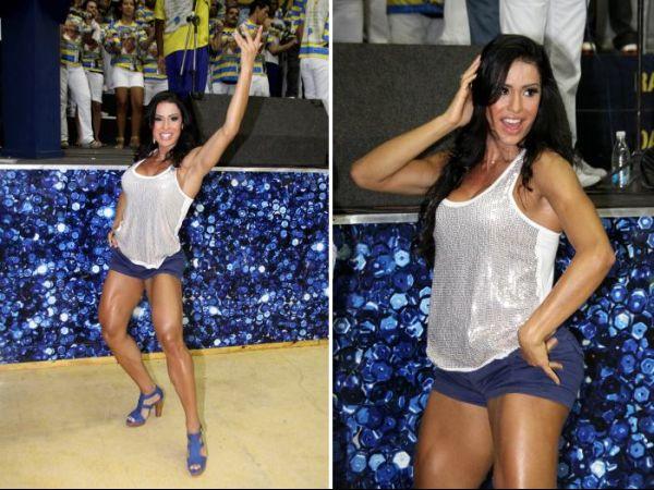 Gracyanne exibe pernas musculosas na Unidos Tijuca