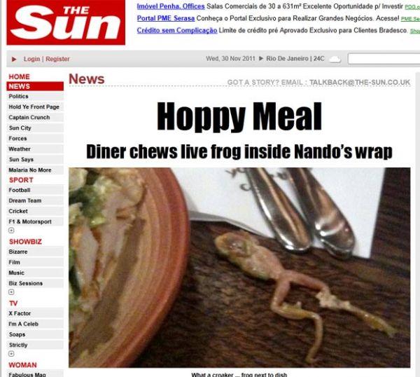 Britânico acha sapo vivo em sanduíche de frango
