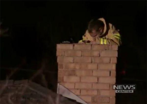 Homem é resgatado ao tentar entrar em casa pela chaminé