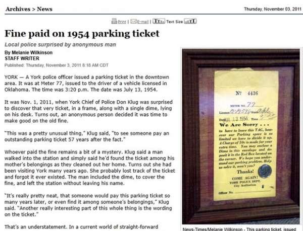 Homem paga multa de estacionamento de 10 centavos após 57 anos