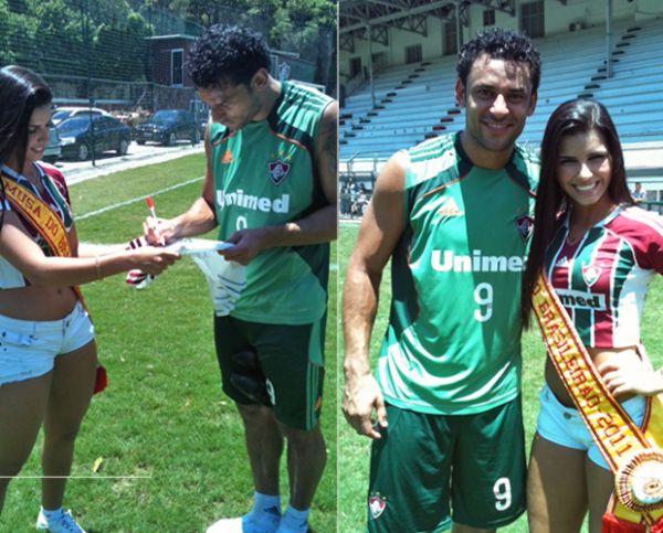 Musa do Brasileirão realiza sonho de conhecer o atacante do Fluminense Fred