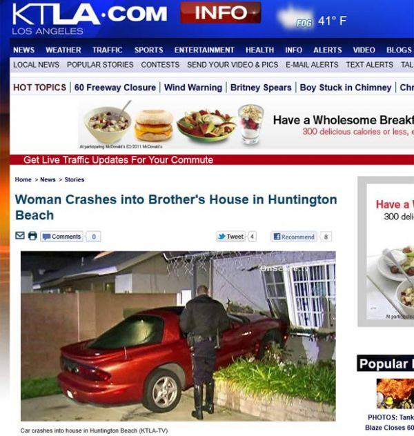 Mulher erra pedal, bate carro e destrói casa do seu próprio irmão