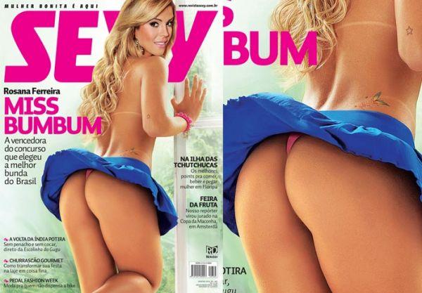 Sexy mostra capa e a borboletinha da Miss Bumbum; fotos!