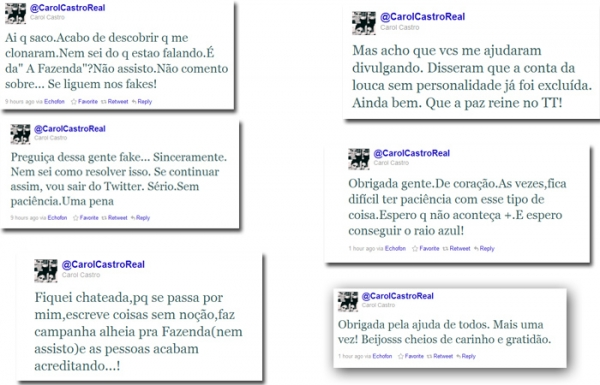 Carol Castro reclama de perfil falso e ameaça deixar o Twitter