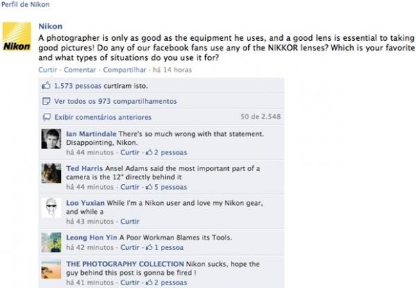 Post polêmico na fanpage da Nikon gera 2.000 críticas dos fãs