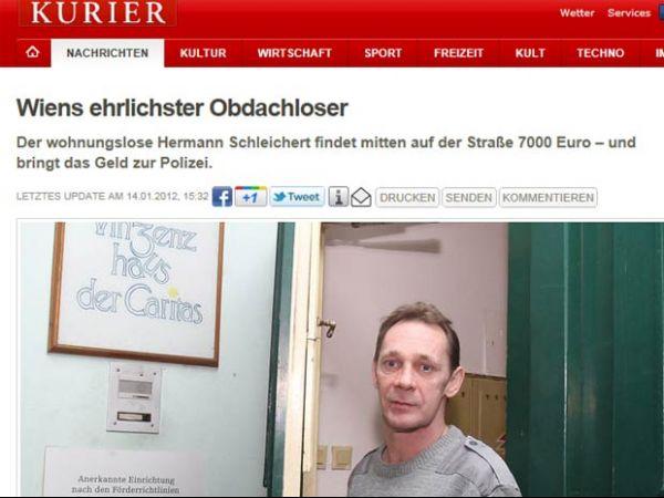 Sem-teto acha 7 mil euros na calçada e devolve ao dono na Áustria