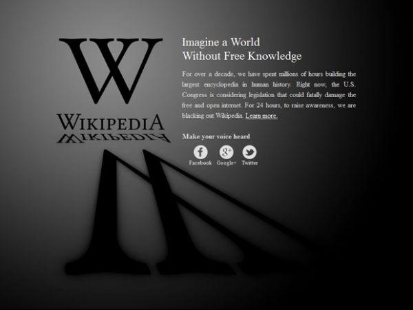 Wikipédia em inglês fica fora do ar contra lei antipirataria nos EUA