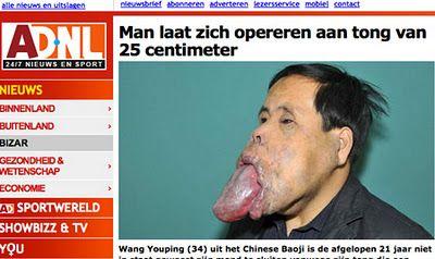 Chinês de língua gigante não abre a boca há pelo menos 21 anos