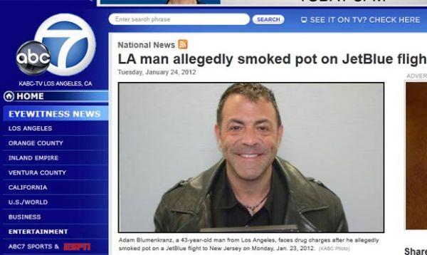 Americano é preso após fumar maconha em voo