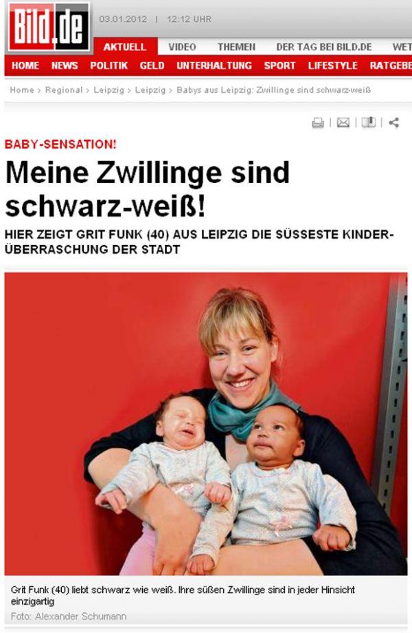 Alemã de 40 anos dá à luz gêmeas negra e branca