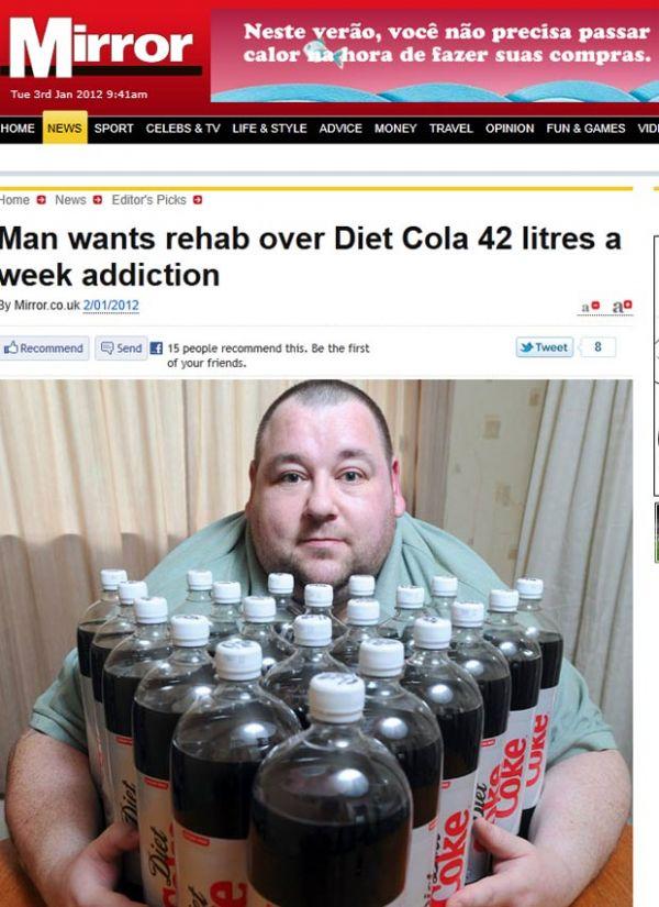 Britânico que bebe 42 l de refrigerante diet por semana faz tratamento