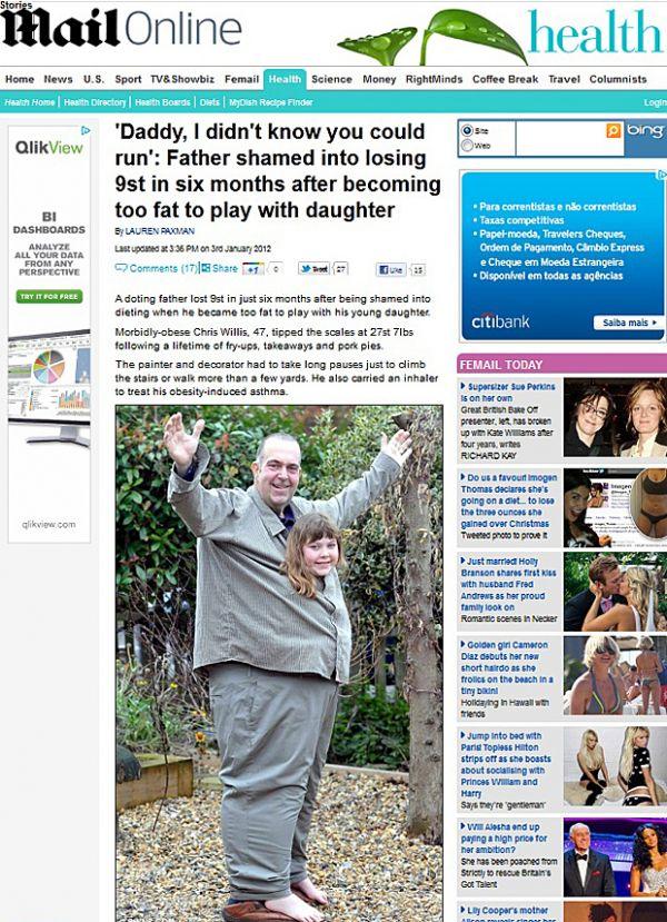 Britânico perde quase 60 kg em seis meses para poder brincar com a filha