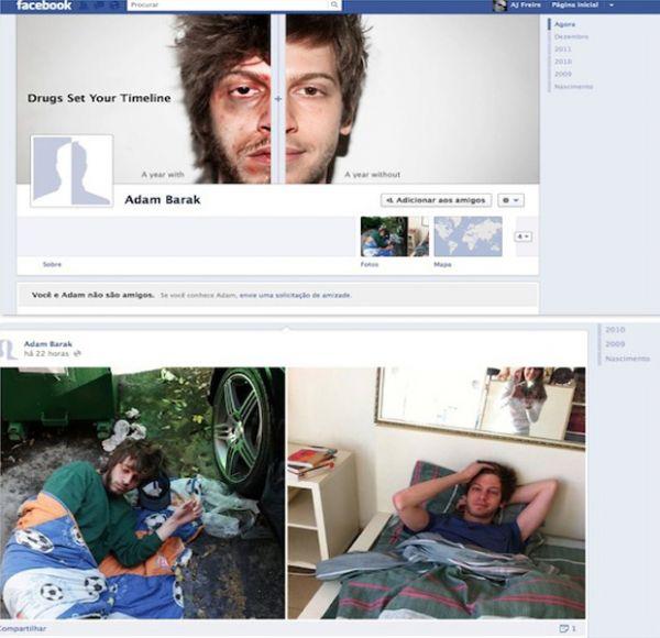 Campanha antidrogas usa perfil com nova Timeline do Facebook