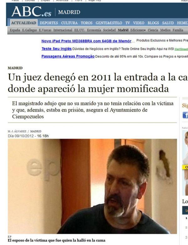 Após sair da cadeia, espanhol acha cadáver mumificado da esposa