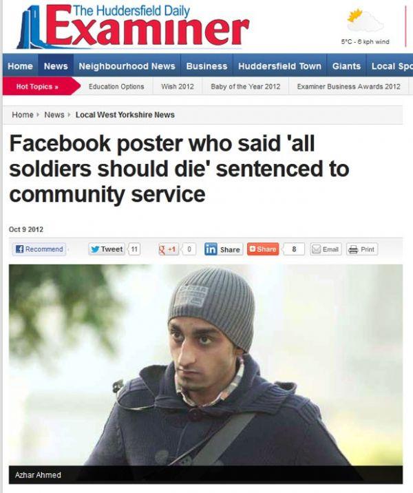 Britânico é condenado após ofender soldados no Facebook