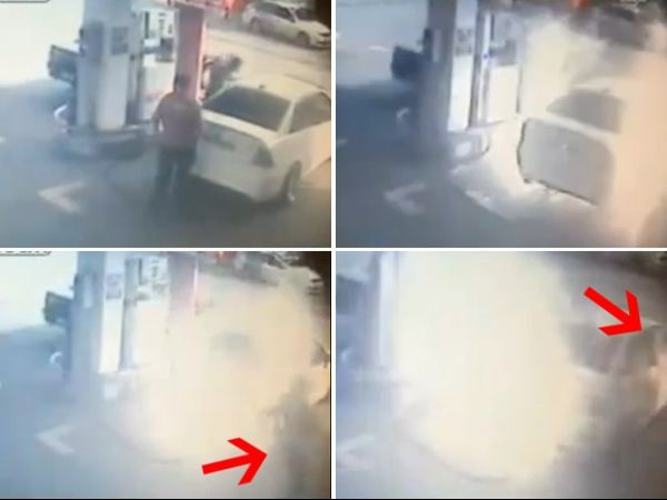 Casal escapa por pouco de incêndio em posto de gasolina na Turquia