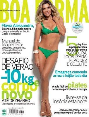De biquíni, Flávia Alessandra esbanja boa forma em capa de revista