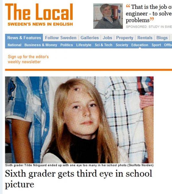 Foto de anuário escolar mostra aluna sueca com terceiro olho na testa