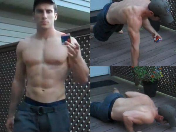 Bombadão resolve cubo mágico enquanto faz flexões com uma mão