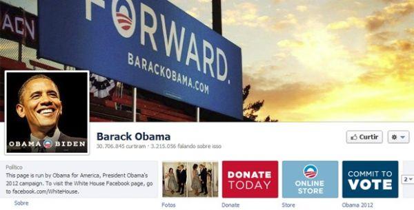 Página de Obama no Facebook é