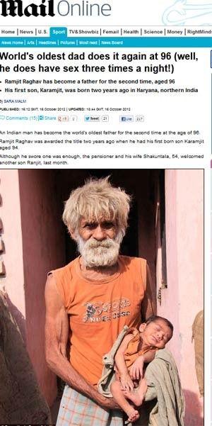 Indiano faz sexo 4 vezes ao dia e afirma ser pai aos 96 anos