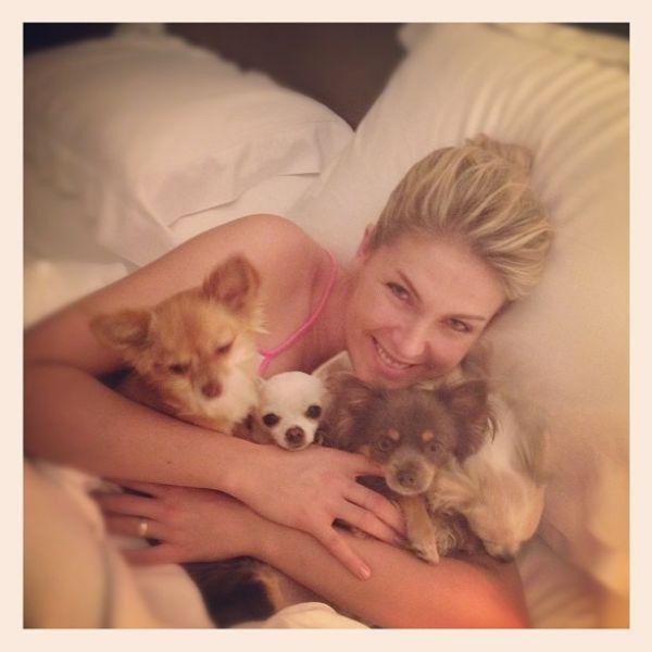 Ana Hickmann leva cachorrinhos para cama: ?Hora de ninar?