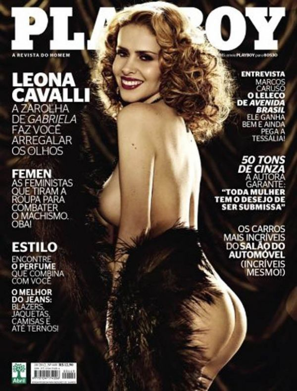 Leona Cavalli, a Zarolha de Gabriela; mostra o bumbum e parte do seio  na capa da Playboy