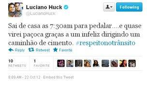 Luciano Huck conta em rede social que quase foi atropelado