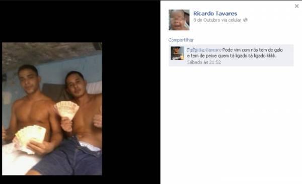 Traficante preso ostenta dinheiro em rede social