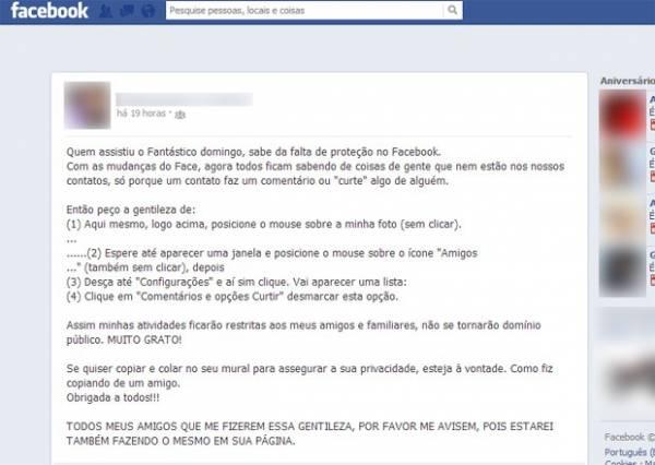 Dica falsa de privacidade se espalha no Facebook