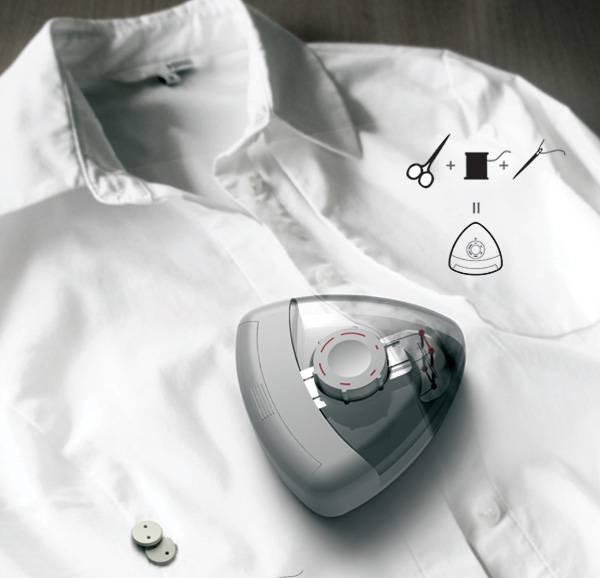 Designer imagina um pregador de botão automático para camisas