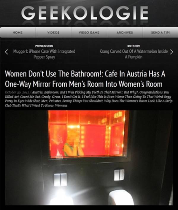 Restaurante instala espelho para homens