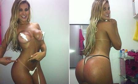 Andressa Urach  candidata do Miss Bumbum mostra marquinha de sol